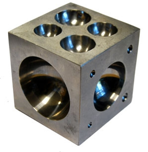 "21 Cavities 2-1/2"" X 2-1/2"" X 2-1/2"" Polished Stainless Steel Dapping block with Cavities"