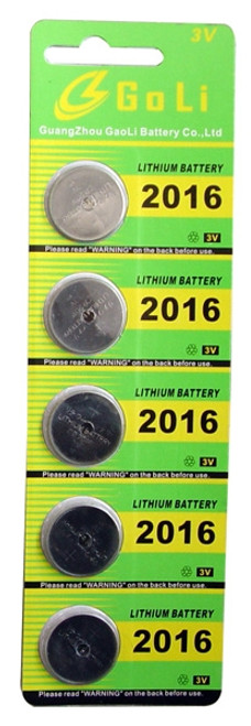 Button Cell Batteries 5PC CR2016