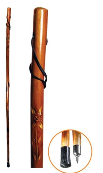 "60"" Wooden Walking/Hiking Stick with Flower Carving"