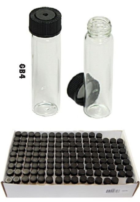 "144 Pc Mini Glass Bottle Display (2-3/16"", Outer Diameter: 9/16""), Capacity 6 ml"
