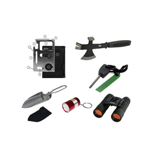 Ultimate outdoor kit with binoculars, fire starter, survival hatchet, and more!