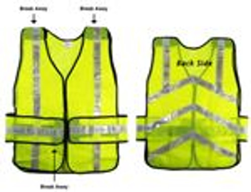Lime Color Safety Vest 3 Part Detachable