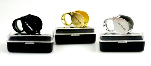 3 Piece Loupe Set 10X 18mm Gold Silver & Black