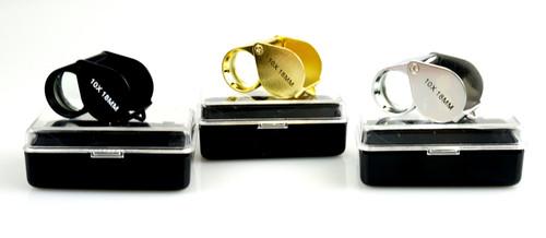 3 Piece Loupe Set 10X 18mm Gold Silver & Black