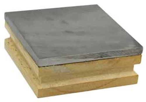 "Steel Bench Block With Wooden Base 3"" X 3"" X 3/4"""