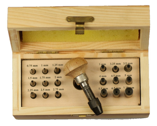 Bezel Setting Punch Set In Wood Box With 18 Punches, Size 0.75mm to 7.5mm