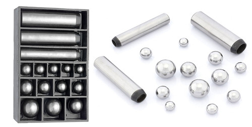 15pc Dapping Punch Set with Magnetic Ball (12.3mm to 24.7mm)