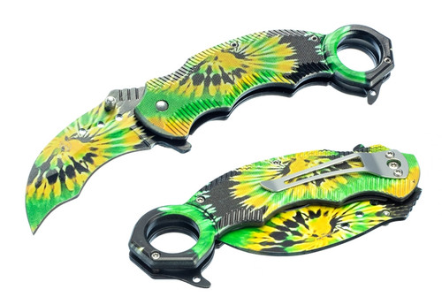 Tie Dye Karambit Style Pocket Knife