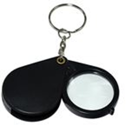 72pc 5x Folding Pocket Magnifier Keychains  Black Color