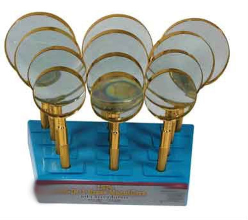 4-IN-1 Brass Magnifiers with Screwdriver in a Display