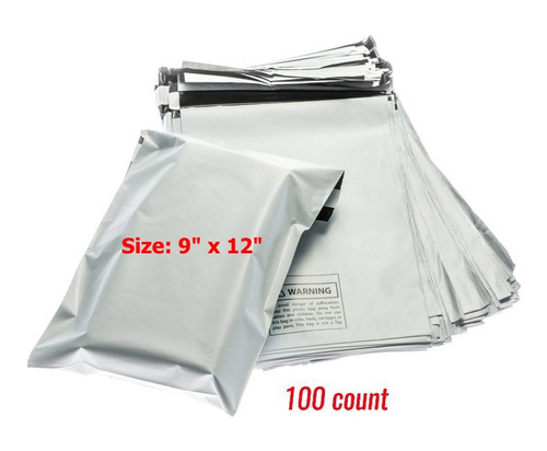 """100 Pc Poly Mailer Envelope Bags : Size: 9"""" x 12"""", Self Adhesive"""
