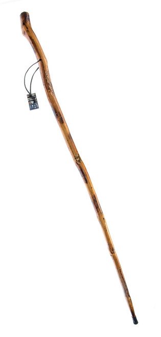 """Natural Wood Walking Stick with Root Head , Steel Spike and Metal-Reinforced Tip Cover, 60"""""""