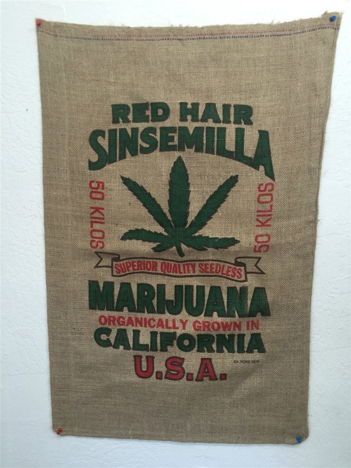 Novelty Burlap Red Hair Sinsemilla Weed Bag