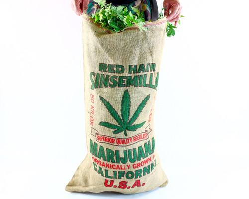 Novelty Burlap Red Hair Sinsemilla Weed Bag