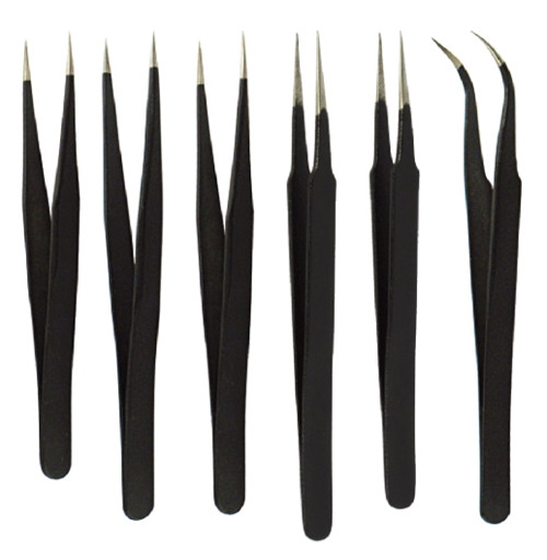 6pc Black Non-Magnetic Tweezer Set