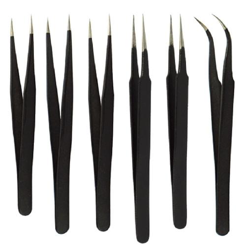 6pc Black Non-Magnetic Tweezer Set