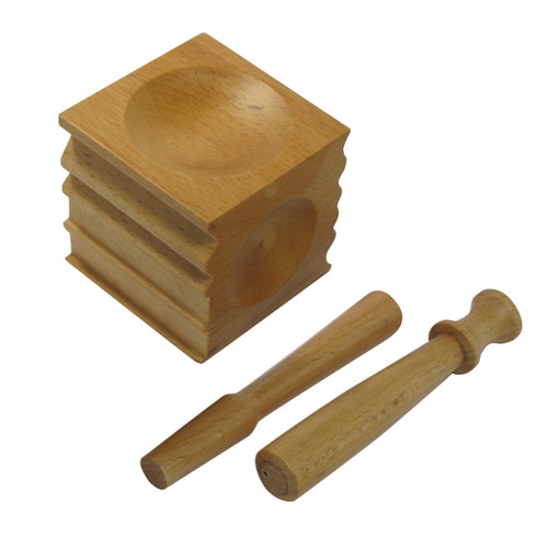 Wooden Dapping Block & 2 Punches