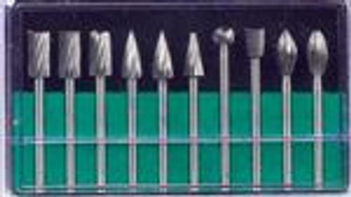 "10 Piece High Speed Rotary Burrs 1/8"""