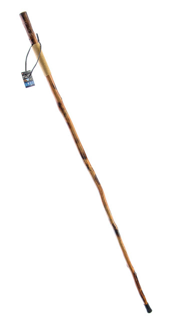 """Rope Wrapped Wooden Walking/Hiking Stick with Hand Carved Wolf Design 55"""""""