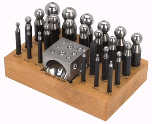 24 Pc Doming Punch & Dapping Block set on a Stand