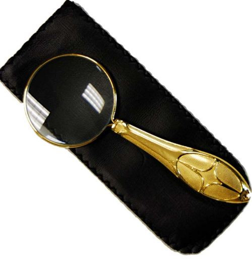 Hand Held Magnifier 5X Gold Handle
