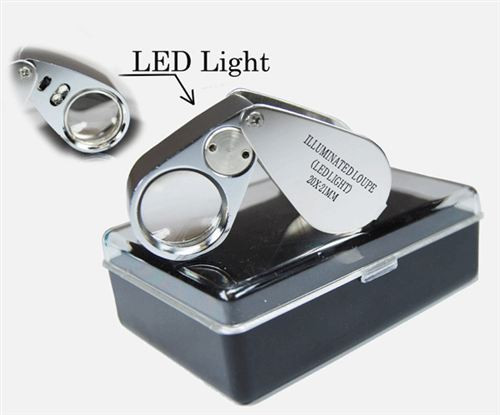 9X LED Lighted Loupe Magnifier Metal Casing