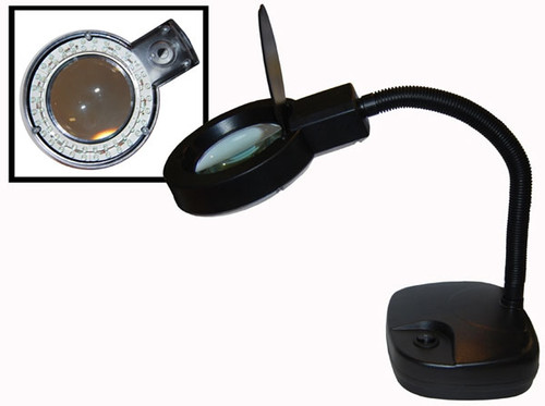 60 LED Magnifier Table Lamp Black