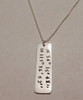 """Latitude and Longitude Coordinates Rectangle Tag Sterling Silver Hand Stamped Personalized Necklace and choice of chain. It is shown with a Polished Finish on a Solid Sterling Silver Rolo Chain. Choose from five custom finish options. Use the drop down menu if you would like to add Genuine Swarovski Birthstones. *Note- Please provide the exact address to the location you would like the latitude and longitude coordinates or provide the coordinates. Coordinates can be written in several formats. If you prefer another format, please provide a sample.   SIZE:  Solid Sterling Silver Rectangle Tag approx. 1 1/2"""" x 3/8"""""""