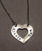 """Heart Washer with stamped names, all Sterling Silver Necklace with choice of chain. This item is only available on select Cable Chains. It is shown with a Polished Finish on a Solid Sterling Silver Cable Chain. Choose from five custom finish options. Use the drop down menu if you would like to add Genuine Swarovski Birthstones. Birthstones can be hung in the center of the heart or on the chain beside the heart.   SIZE: Solid Sterling Silver 1"""" x 1/2"""" Heart Washer"""