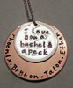 """""""I love you a bushel and a peck"""" Layered Solid Sterling Silver and Copper Stamped Necklace with Kids Names ~ Mommy, Grandma, or Auntie Mixed Metal Necklace with choice of chain. It is shown with a Polished Finish on a Solid Sterling Silver Cable Chain. Choose from five custom finish options. Use the drop down menu if you would like to add Genuine Swarovski Birthstones.    SIZE: Solid Copper 1 1/4"""" Round  Solid Sterling Silver 7/8"""" Round"""