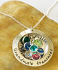 Stamped Sterling Silver Locket Necklace with Names and Birthstones ~ auntie's treasures or Your Custom Text