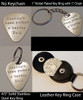 """Choice of: No Key Ring (no hole in metal)-Token Coin Only 4/5"""" Solid Stainless Steel Key Ring 1"""" Nickel Plated Key Ring with 1"""" Chain Leather Key Ring Case"""
