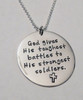 "Stamped Warrior Necklace, ""God gives His toughest battles to His strongest soldiers."" Solid Sterling Silver Necklace. It is shown with a Polished Finish on a Solid Sterling Silver Ball Chain. Choose from five custom finish options. Custom Christian handmade jewelry designs for women and men.   SIZE:  Solid Sterling Silver 1 1/4"" Round"