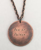 """pas an fuisce"" Irish for ""pass the whiskey"" Hand Stamped Necklace in Solid Sterling Silver, Copper, or Brass. It is shown in Solid Copper with an Aged Finish on a Solid Copper Aged Patterned Cable Chain. Choose from five custom finish options. Use the drop down menu to add Genuine Swarovski Birthstones. This necklace is custom, personalized to your needs, and handmade with care.   SIZE: 1"" Round"