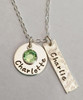 Hand Stamped Name Necklace with Round Charm, Rectangle Charm & Birthstone ~ Sterling Silver