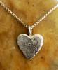 Small Heart Fingerprint Necklace Polished .999 Fine Silver