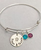 Bangle Bracelet with Hand Stamped Dog Paw/Cat Paw Charm with Pet Name & Birthstone