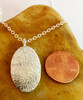 Medium Oval Fingerprint Necklace Polished .999 Fine Silver