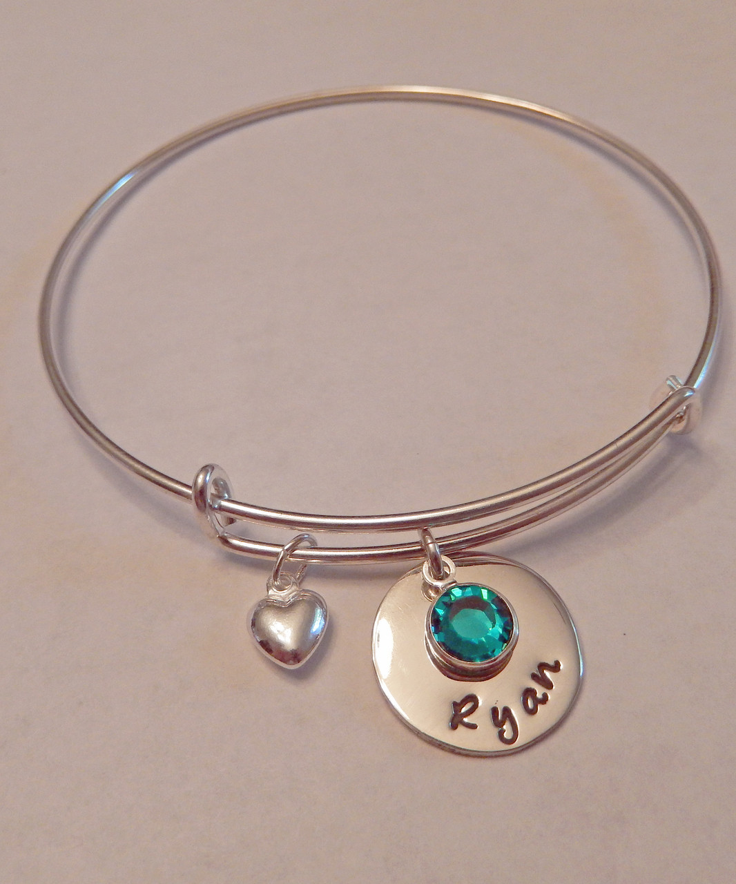 b21d3657b69 Hand Stamped Round Name Charm with Genuine Swarovski Birthstone on  Expandable Bangle Bracelet all Sterling Silver