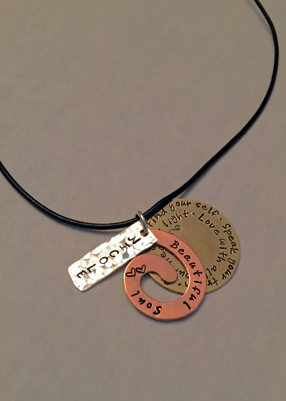 Love Y stamped copper necklace