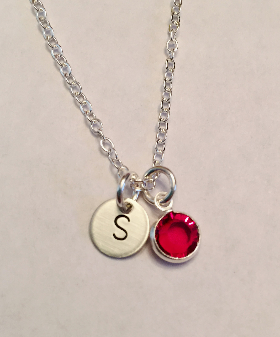 fbfc6a27f4954 Tiny Single Initial Stamped Necklace with Swarovski Birthstone, all  Sterling Silver