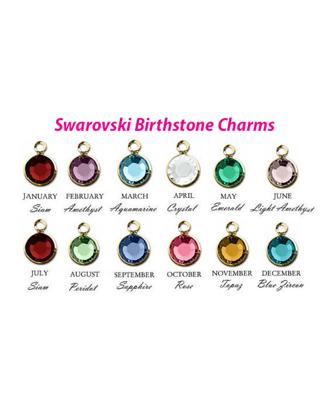 4cb80f19f Add on 6mm Channel Drop Swarovski Crystal Birthstone 14K Gold Plated Charm  Pendants. This listing