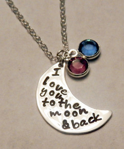 """Stamped """"I love you to the moon and back"""" with Genuine Swarovski Crystal Birthstone Sterling Silver Necklace and choice of chain. It is shown with a Polished Finish on a Solid Sterling Silver Cable Chain. Choose from five custom finish options. Use the drop down menu if you would like to add Genuine Swarovski Birthstones.   SIZE:  Solid Sterling Silver 7/8"""" Round One Genuine Swarovski Crystal Birthstone choice"""