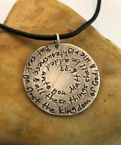 Matthew 6:33 Hand Stamped Entire Bible Verse Necklace