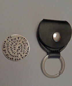 """Matthew 6:33 Stamped Entire Bible Verse Token Coin Keychain with Optional Black Leather Case. Choice of Solid Sterling Silver, Solid Nickel, Solid Copper, or Solid Brass. It is shown in Solid Sterling Silver with an Aged Finish in a Black Leather Key Ring Case. Choose from five custom finish options. *AGED AND HAMMERED OXIDIZED ARE NOT AVAILABLE IN NICKEL.   Matthew 6:33 King James Version (KJV) But seek ye first the kingdom of God, and his righteousness; and all these things shall be added unto you.   SIZE:  1 1/4"""" Round"""