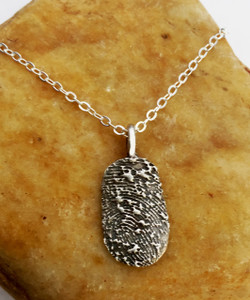 Oval Fingerprint Necklace Oxidized .999 Fine Silver