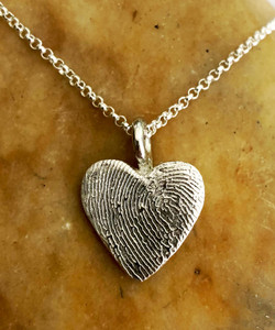 Small Heart Fingerprint Necklace Polished .999 Fine Silver