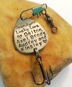 Fishing Lure ~ Grandpa's Lucky Lure ♥ (names of grandchildren) ♥ ~ Hand Stamped