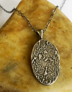 Large Oval Fingerprint Necklace Oxidized .999 Fine Silver