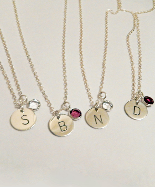"""Wedding Party Bridesmaid Gift Group of Necklaces 3,4,5,6,7,8,9,or 10 in Wedding Colors of red, blue, green, pink, purple, yellow, teal, and more- Hand Stamped Solid Sterling Silver Initial charm with One Genuine Sworvski Crystal Birthstone per necklace and choice of chain.They are shown with a Polished Finish on a Solid Sterling Silver Cable Chains. Choose from five custom finish options. If you would like to add additional crystals, purchase them under the """"Accessories"""" tab and leave detailed instructions.   SIZE:  Solid Sterling Silver 1/2"""" Round per necklace 1 Genuine Swarovski Crystal color choice per necklace"""